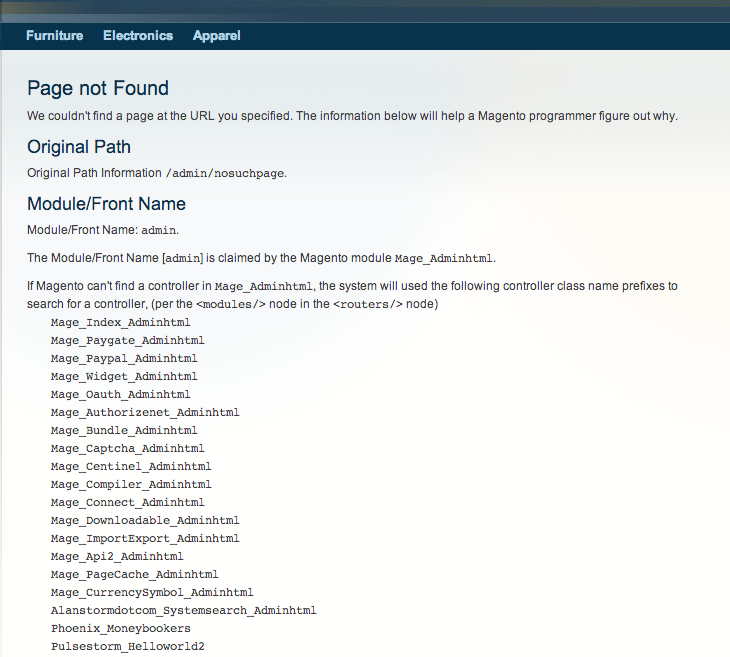 image listing each module magento will check for an admin controller match