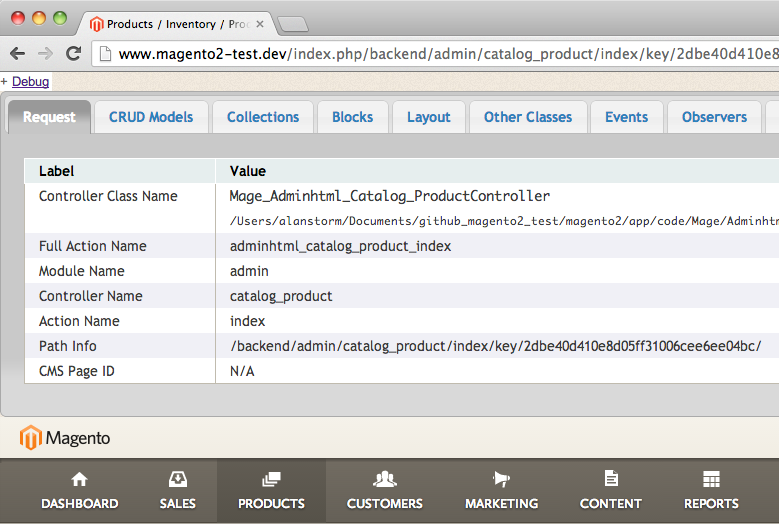 Screenshot of Commerce Bug running in Magento 2