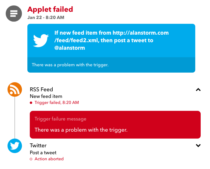 image of very basic IFTTT error logging page